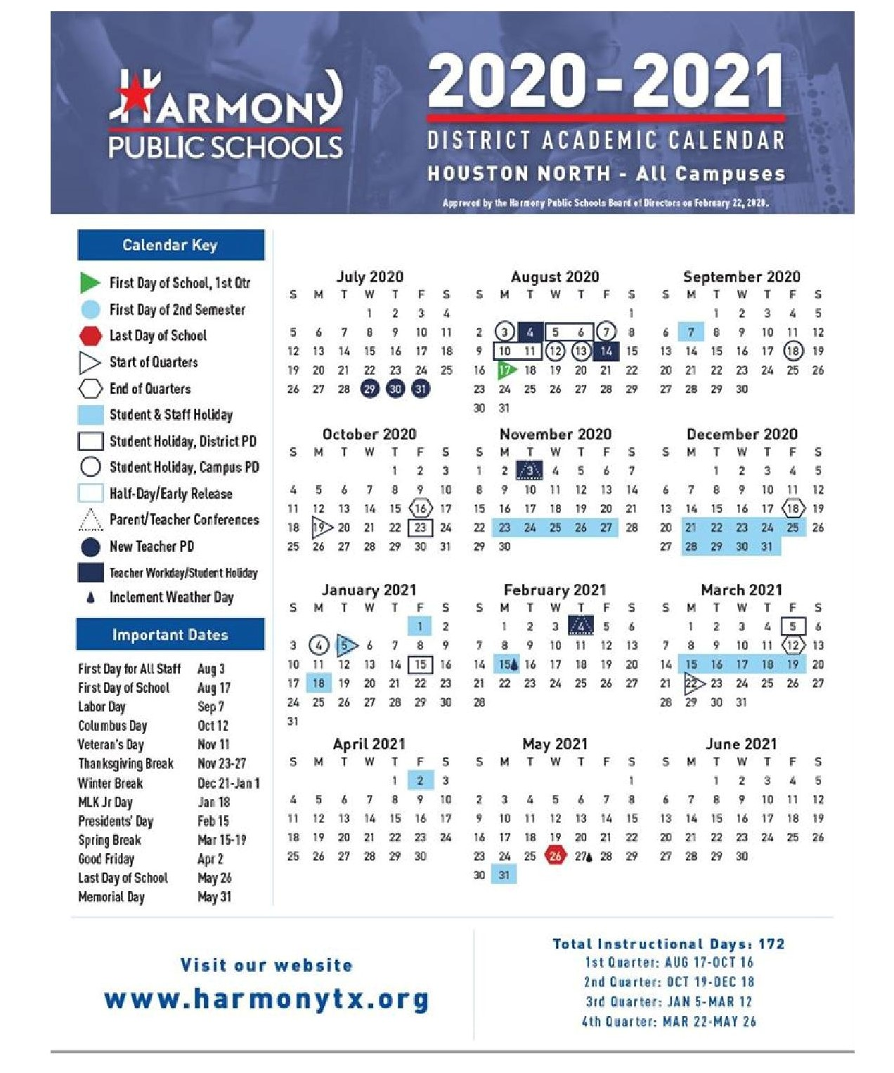 School Calendar 2021 Academic Calendar   – Harmony School of Achievement – Houston